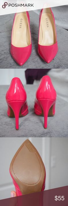 Valentine's Day!! Guess Pink Heels Brand spankin new with no flaws! Just stunning and honestly a great add to any outfit. Pointed toe, slightly padded insole, and great detail in the footbed. Guess Shoes Heels