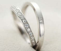 925 Sterling Silver Matching Couple's Wedding Bands for Him and Her with CZ Diamonds HR-0066