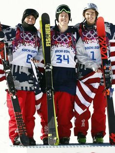 Americans Joss Christensen (34) wins gold, Gus Kenworthy (8) wins silver, and Nicholas Goepper (1) wins bronze in the men's ski slopestyle final during the Sochi 2014 Olympic games.