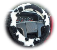 Fuzzy Faux fur Black and White Cow print car steering wheel cover furry and fluffy - Poppys Crafts - 1 Fuzzy Steering Wheel Cover, Steering Wheels, Cow Appreciation Day, Fluffy Cows, White Cow, Black White, 4x4 Van, Cute Car Accessories, Cute Cows