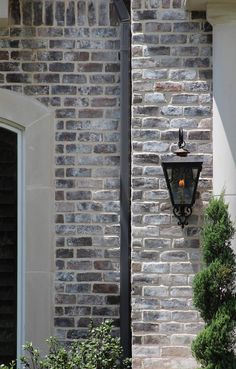 Ideas Farmhouse Brick Exterior Stones For 2019 Café Exterior, Stone Exterior Houses, Exterior House Colors, Exterior Paint, Exterior Design, Grey Stone House, Brick And Stone, Grey Brick Houses, Acme Brick