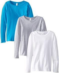 Clementine Big Girls' Everyday Long Sleeve Tee Assorted 3 Pack White Grey TurquoiseLarge  A signature and unique style from Clementine Apparel, this super-soft Princess Long Sleeve tee is instantly loved by all who wear it. Recommended Use: casual, cover-up, everyday. White color is 100 percent combed cotton jersey, Black, Cancun, Heather Grey colors 90 percent Cotton 10 percent Polyester, Hot Pink, Light Pink, Lilac, Midnight Navy, Neon Heather Green, Neon Heather Orange, Neon Heath..