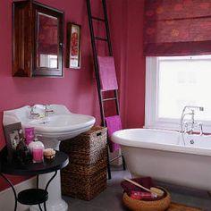 Raspberry bathroom by Housetohome, via Flickr