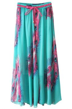 Aqua Feather Print Chiffon Maxi Skirt