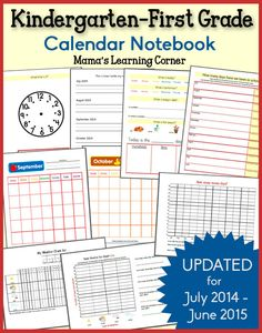 Free Kindergarten First Grade Calendar Notebook 2014-2015: Telling time, tracking and graphing weather, Days of the Week, Months of the Year...