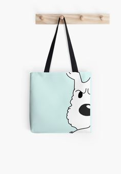 Soft polyester canvas shopping bag with edge-to-edge print on both sides. Fully lined for extra strength. Three sizes to choose from. Our favorite reporter's lovable fluffy companion Printed Tote Bags, Cotton Tote Bags, Canvas Tote Bags, Reusable Tote Bags, Painted Bags, Pet Shop, Bag Making, Shopping Bag, Pouch