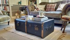 OLD TRAVEL TRUNK Vintage Steamer Trunk COFFEE TABLE Old Suitcase BANDED TRUNK
