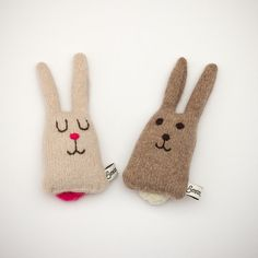 Boris and Betty Lavender Lambswool Bunnies Made to by saracarr