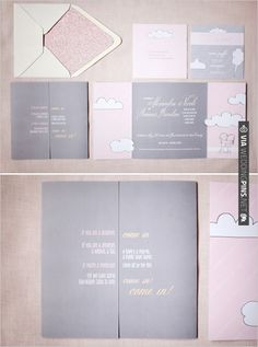 pink and grey wedding invites inspired by Shel Silverstein designed by | VIA #WEDDINGPINS.NET