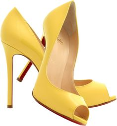 Christian Louboutin banana yellow patent leather peep toe pumps