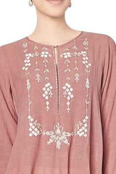Buy Marsala cotton georgette tunic with floral motifs by Anita Dongre at Aza Fashions Embroidery On Kurtis, Kurti Embroidery Design, Embroidery Fashion, Embroidery Dress, Zardozi Embroidery, Kurti Neck Designs, Blouse Designs, Anita Dongre, Kurta Patterns