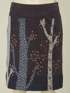 tree applique corduroy skirt