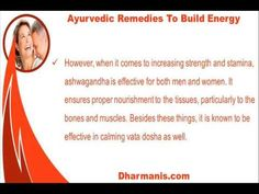 This video describes about ayurvedic remedies to build energy in men and women. You can find more detail about Sfoorti capsules at http://www.dharmanis.com