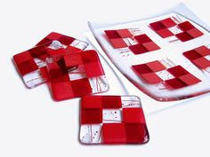 Red Fused Glass Plate Fused Glass Platter and by FleetingStillness
