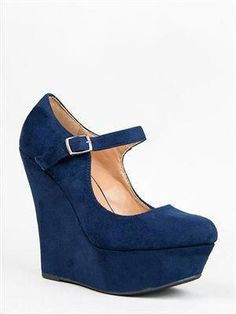 5198eda01c Delicious KAYLA Suede Wedge Mary Janes