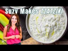 Perfectly creamy, flavor-packed sauce or dip with Greek yogurt, cucumbers and mins start to finish Meditranian Recipes, Greek Recipes, Sauce Recipes, Vegetarian Recipes, Cooking Recipes, Healthy Recipes, Healthy Food, Healthy Eating, Mediterranean Sauce