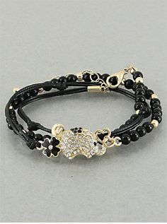 Lucky Elephant Bracelet in Black from P.S. I Love You More. Shop online at: http://psiloveyoumore.storenvy.com