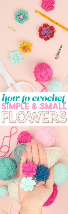 Crochet Iphone how to crochet flowers - simple flower pattern - Learn how to crochet flowers with this easy crochet pattern that creates small, simple flowers. They are perfect for embellishing any crochet project! Cute Crochet, Beautiful Crochet, Crochet Yarn, Simple Crochet, Blanket Crochet, Irish Crochet, Crochet Flower Patterns, Crochet Flowers, Crochet Ideas