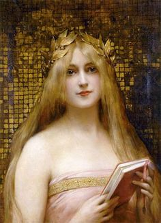 'Girl with a Golden Wreath' (date unknown), attributed to Léon-François Comerre // Click image for additional details about this portrait // Found by @RandomMagicTour (https://twitter.com/randommagictour) - Sasha Soren