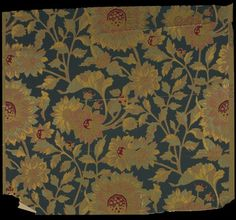 Object title: Wallpaper  Description: Large-scale, allover sunflower design printed in fuchsia, metallic gold, bronze, copper, and green on a blue field and olive ground.  Maker: unknown   Date: 1880-1887    Location of origin: United States  Places: United States    Descriptive terms: wallpapers    People and organizations: American Wall Paper Manufacturers Association (1880-1887)    Dimensions: 17-1/8 x 19-1/2 (HxW) (inches)