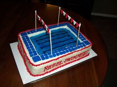 School swim team fundraiser cake by my talented mom! Fund Raiser, Swim Team, Gorgeous Cakes, Awesome Cakes, Fundraising, Party Ideas, Swimming, Bar