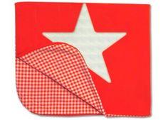 couverture lit bébé étoile  - rouge