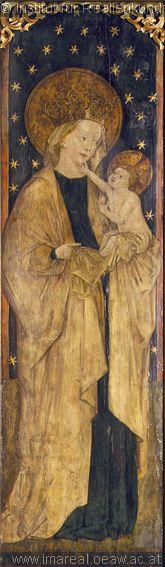 illumanu:    15th century (1465) Slovakia  altar painting of… Mary with infant Jesus!  Bratislava, Slovenská národná galéria  http://tethys.imareal.oeaw.ac.at/realonline/ - no. 011564
