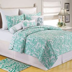 Check out Bella Coastal Decor today and surf our large variety of nautical quilts, like this Cora Seafoam Quilt Bedding Collection! Coastal Quilts, Coastal Bedding, Coastal Bedrooms, Coastal Decor, Coastal Rugs, Coastal Cottage, Coastal Style, Luxury Bedding, Nice Bedrooms