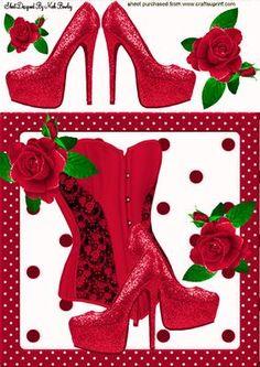 PRETTY RED BASQUE WITH SHOES ROSES 8X8 on Craftsuprint - Add To Basket!