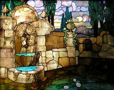 Ancient Fountain Stained Glass Window- panel number 2959