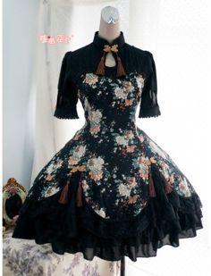 Strawberry Witch Peony Printed Qi Lolita OP Dress