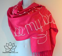 Custom Hand-painted Script Pashmina Fuchsia Scarf (Viscose/Acrylic blend) - Made to Order