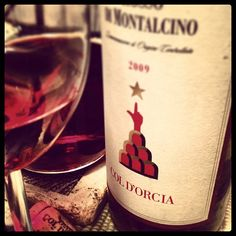 2009 Col d'Orcia Rosso Montalcino. Drinking so right. Just what i needed after a long day of work.  Cherry..cherry..cherry...dark cherry.