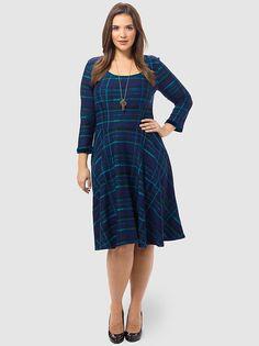 Midnight Plaid Jacquard Dress