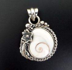 Handmade Sterling Silver and Shiva Eye Shell Pendant by fishsilver, $90.00
