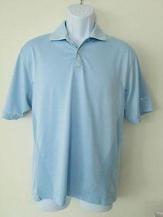 Nike Golf Dri-Fit Body Mapping Polo Shirt S Light Blue Polyester Short Sleeve #Nike #Golf #PoloShirt
