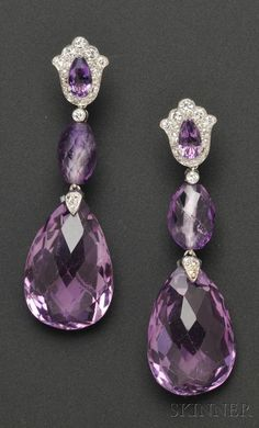 Platinum ~ Amethyst & Diamond Earpendants… Cartier, each shaped top set with pear-cut amethyst and suspending faceted drops, full and single-cut diamond accents…♡♥ڿڰۣ(̆̃̃ღ♥