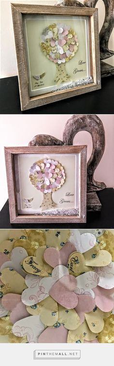 A classy piece with a beautiful message; made up of individually printed, cut and mounted hearts, painstakingly placed creating a gorgeous 3D effect. Each heart is cut and carefully placed onto an ivory background to create the main body of the tree and compliments perfectly the simply patterned 3D trunk. Alternate sides of each heart stand off the mount creating a beautiful 3 dimensional effect giving both depth and shadow.