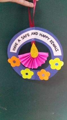 Diy Diwali Cards, Diy Diwali Decorations, Diwali Diy, Diwali Gifts, School Decorations, Festival Decorations, Hobbies And Crafts, Diy And Crafts, Paper Crafts