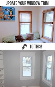 How to Install Craftsman Style Window Trim - Teal and Lime. Update old wood window trim for a clean updated look. Home Renovation, Home Remodeling, Moldings And Trim, Crown Moldings, Window Molding Trim, Window Trims, White Window Trim, Wood Molding Trim, Craftsman Window Trim