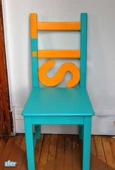Adorable chair redo. Totally have to chairs I'm going to do this with!