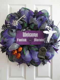 New Large Spooky Halloween Disney Themed Black Purple Green Mesh Ribbons Spiders Ghost HAUNTED MANSION WELCOME Wreath by TheOpenDoorWreaths