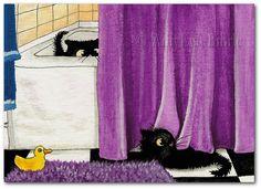 Black Cats Rubber Duck Bathroom Peek - Art Prints & ACEOs by Bihrle ck236