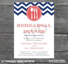 Nautical Chevron Rehearsal Dinner Invitation - Printable Rehearsal Dinner - DIY Nautical Dinner Invitation - Chevron Rehearsal Dinner Invite by PaperPigeonDesigns on Etsy