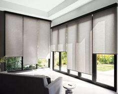 Our Solar Shades reduce heat and glare in sun-soaked homes and prevent furniture damage due to UV rays. Available in a range of stylish looks - including our exclusive designer collection from Scott Living Modern Window Shades, Modern Blinds, Modern Windows, Vintage Windows, Sliding Door Window Treatments, Window Treatments Living Room, Living Room Windows, Modern Window Treatments, Modern Window Coverings