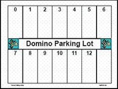 Math station activity - Domino Parking Lot. Students use a set of regular dominoes and a domino parking mat. Each student selects a domino, counts the total number of dots (pips) and places the domino in that parking spot.