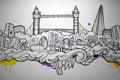 Office mural project for London based recruitment company, Digital Gurus. All the doodles were done with posca markers, free hand. Doodle Wall, Doodle Art Drawing, Wall Drawing, Art Drawings, Graffiti Doodles, Graffiti Wall Art, Mural Wall Art, Office Mural, Office Art