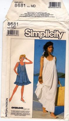 This dress is so romantic with the tiny tucks and fluffy ruffle hem! You can wear it to the beach or wear it to bed, depending on your chosen fabric. It would be awesome for early pregnancy too. Simplicity 8681 Uncut Loose Fit Prairie Style Dress or Nightgown Medium 14 16 (Sorry, this one has been sold.)