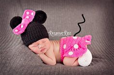 Baby Girl Hat MINNIE MOUSE Inspired Outfit Or Mickey Newborn Baby Boy or Girl Crochet Mouse Hat, Shorts or Skirt Dress and Booties Slippers