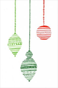 Christmas Ornament Art. Draw the outline in pencil, fill with marker lines, and then erase the pencil. Good positive / negative study. #artprojectsforkids